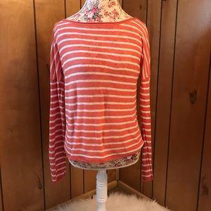 Vince linen striped long sleeve top